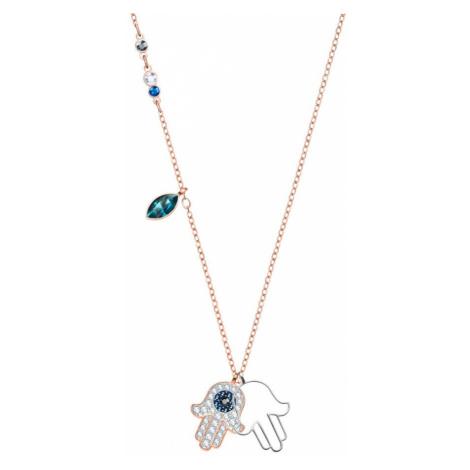 Swarovski Duo Dark Crystal Hamsa Hand Necklace