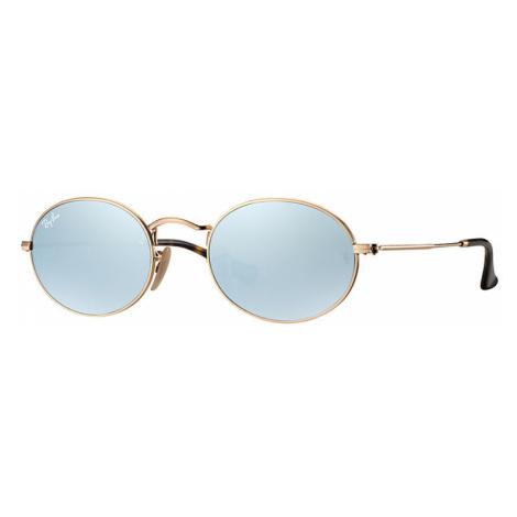 Ray-Ban Oval flat lenses Unisex Sunglasses Lenses: Gray, Frame: Gold - RB3547N 001/30 51-21