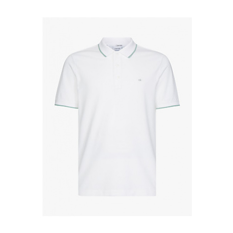 Calvin Klein Cotton Stretch Tipped Slim Polo Shirt, Calvin White