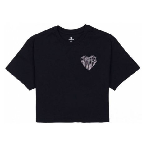 Converse WOMENS LEFT CHEST HEART CROPPED TEE black - Women's cropped T-shirt