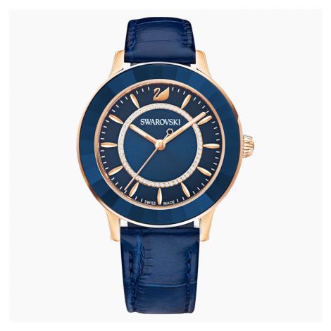 Octea Lux Watch, Leather strap, Blue, Rose-gold tone PVD Swarovski