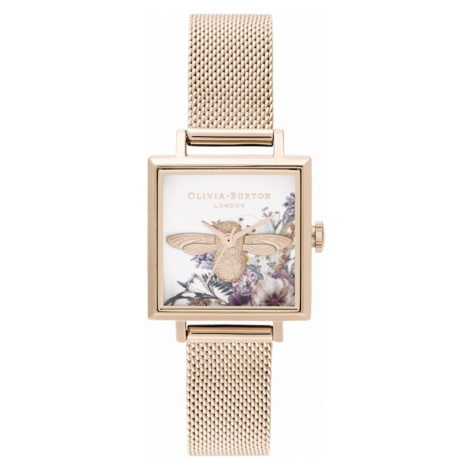 Olivia Burton 3D Bee, Square Dial & Pale Rose Gold Mesh Watch OB16EG152