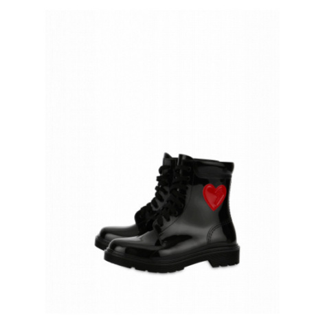 Rubber Ankle Boots With Heart Moschino