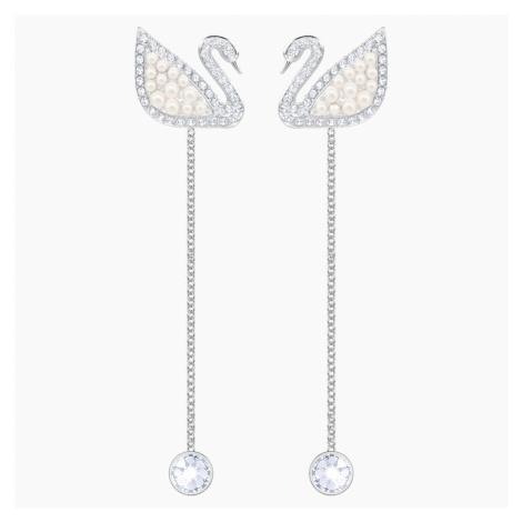 Swarovski Iconic Swan Pierced Earrings, White, Rhodium plated