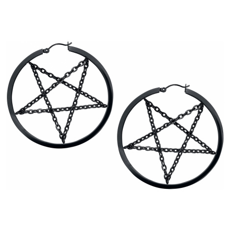 Wildcat - Pentagram Chain Hoops - Earring set - black