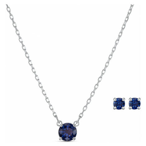Attract Round Set, Blue, Rhodium plated Swarovski