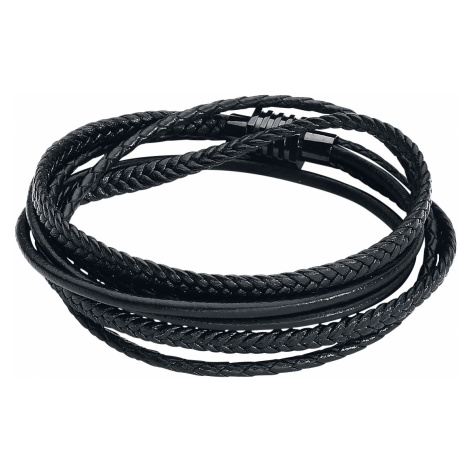 Wildcat - Black Trio Braided Leather Bracelet - Leather bracelet - black