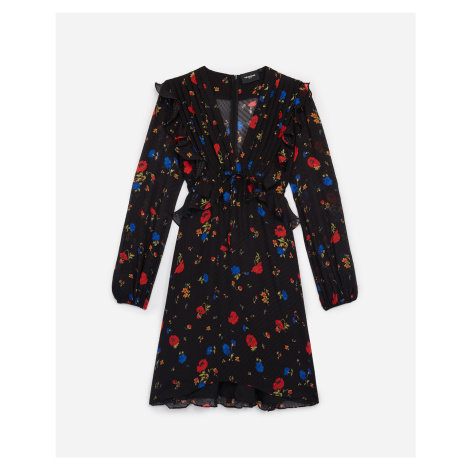 The Kooples - Short black wrap dress with print - WOMEN