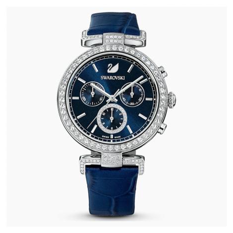Era Journey Watch, Leather strap, Blue, Stainless steel Swarovski