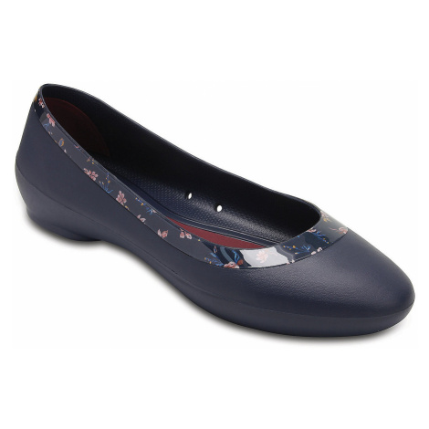 shoes Crocs Lina Shiny Graphic Flat - Navy/Floral