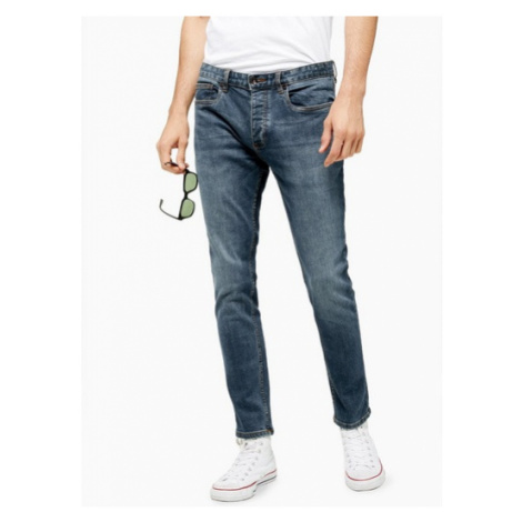 Mens Blue Mid Wash Stretch Skinny Jeans, BLUE Topman