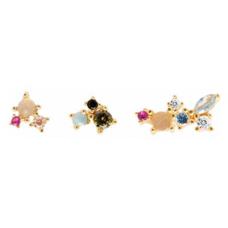 P D PAOLA Gold Plated La Palette Stud Earring Set