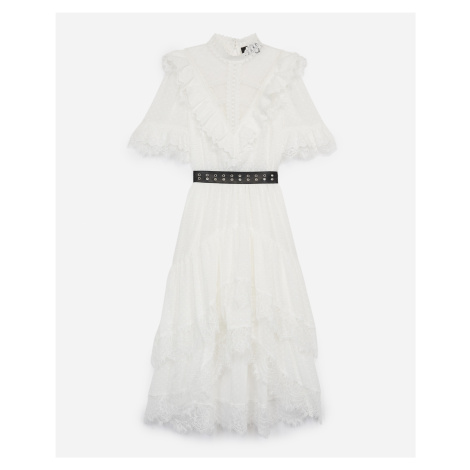 The Kooples - Long lace dress with leather-effect belt - WOMEN