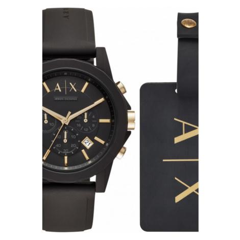 Mens Armani Exchange Luggage Tag Gift Set Chronograph Watch AX7105