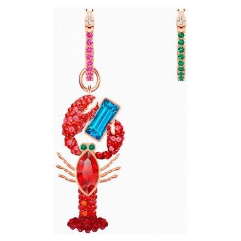 Ocean Lobster Pierced Earrings, Multi-coloured, Rose-gold tone plated Swarovski