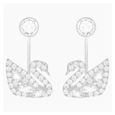 Swan Lake Pierced Earring Jackets, White, Rhodium plated Swarovski