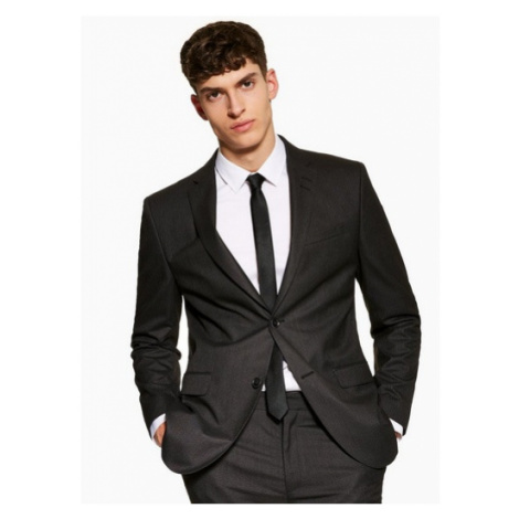 Mens Grey Regular Fit Single Breasted Suit Blazer With Notch Lapels, Grey Topman