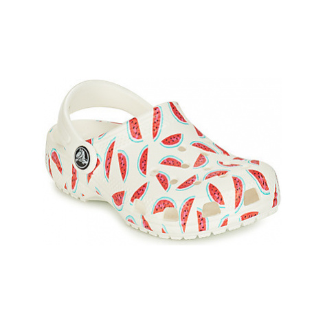 Crocs CLASSIC SEASONAL GRPHC CLG K girls's Children's Clogs (Shoes) in White