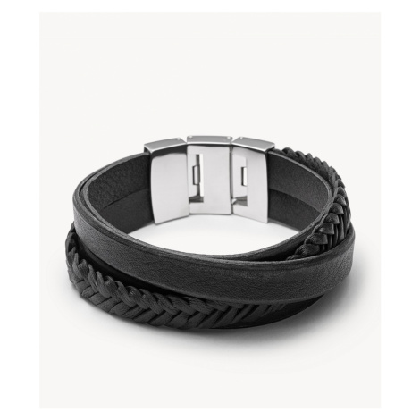 Fossil Men's Multi-Strand Leather Bracelet - Black Silver