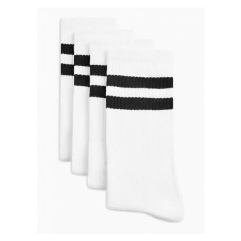 Mens White With Black Stripe Tube Socks 4 Pack, White Topman