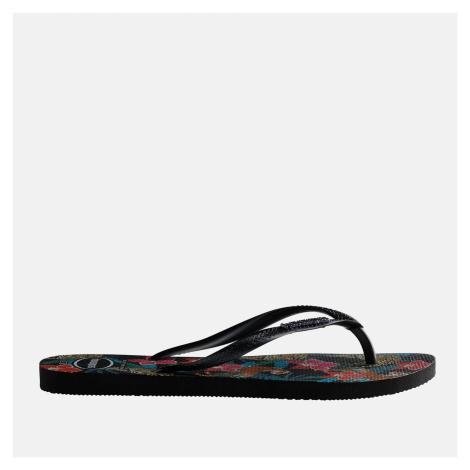 Havaianas Women's Slim Tropical Flip Flops - Black/Dark Grey Metallic - UK