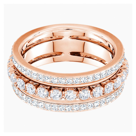 Further Ring, White, Rose-gold tone plated