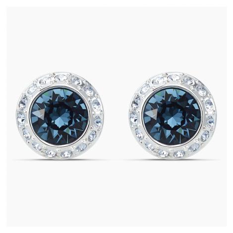 Angelic Stud Pierced Earrings, Blue, Rhodium plated Swarovski