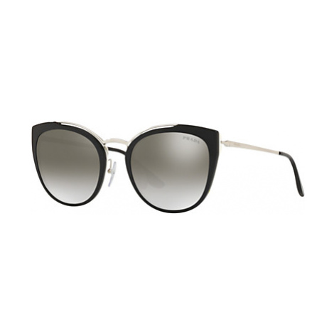 Prada PR 20US Women's Square Sunglasses, Black/Mirror Silver