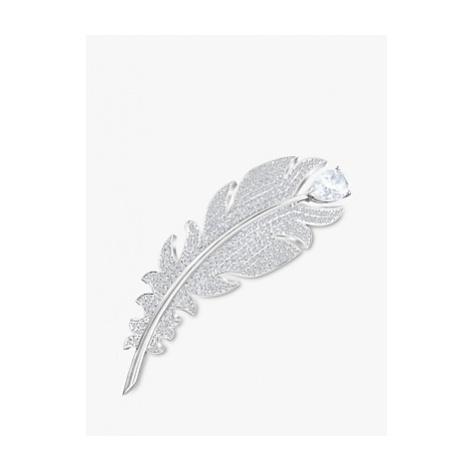 Swarovski Crystal Feather Brooch, Silver