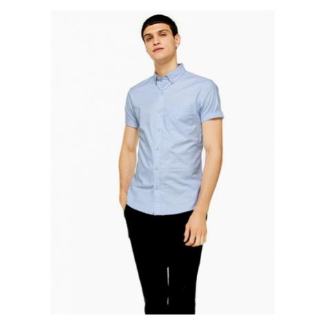 Mens Light Blue Stretch Skinny Oxford Shirt, Blue Topman