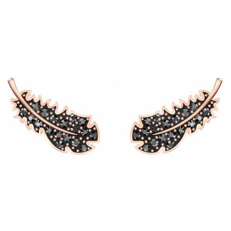 Swarovski Naughty Black Crystal Feather Earrings