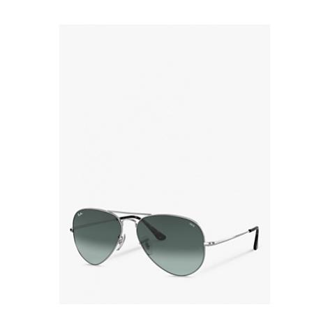 Ray-Ban RB3689 Women's Aviator Sunglasses, Silver/Blue Gradient