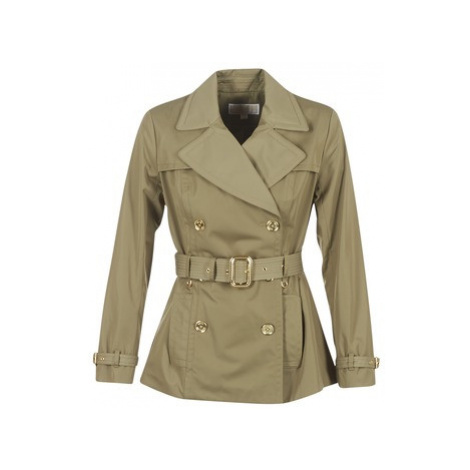 MICHAEL Michael Kors SHORT PLEATED TRENCH women's Trench Coat in Kaki