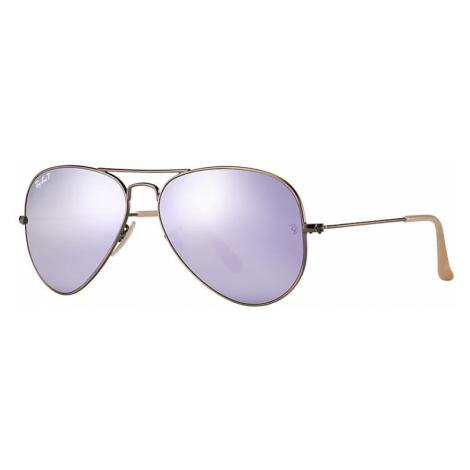 Ray-Ban Aviator flash lenses Unisex Sunglasses Lenses: Violet Polarized, Frame: Bronze-copper -