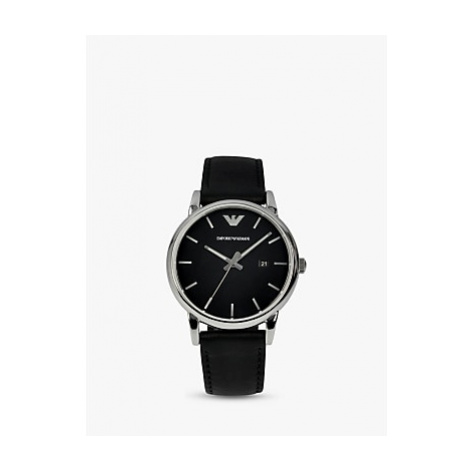 Emporio Armani AR1692 Men's Leather Strap Watch, Black
