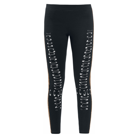 Outer Vision - Vichy Safety Pins Bones - Leggings - black