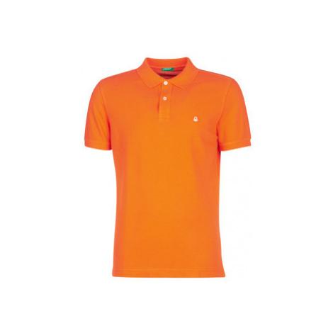 Benetton MADALO men's Polo shirt in Orange United Colors of Benetton