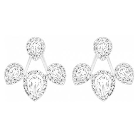 Laina Pierced Earring Jackets, White, Rhodium plated Swarovski