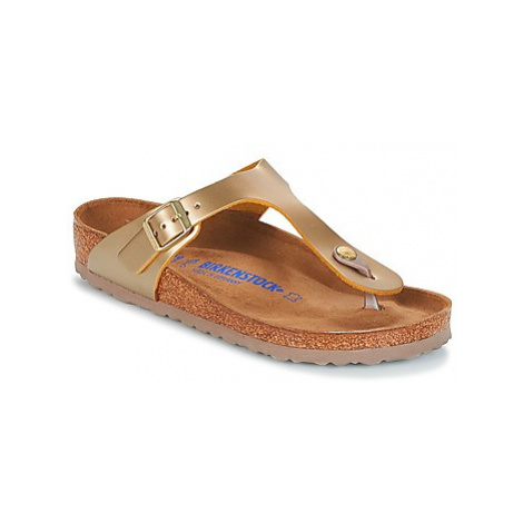 Birkenstock GIZEH SFB women's Flip flops / Sandals (Shoes) in Gold