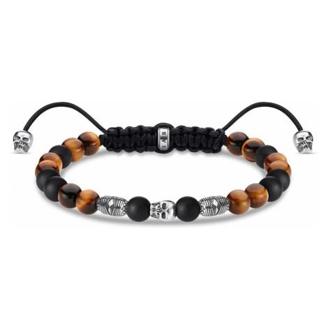 THOMAS SABO Rebel Obsidian & Tiger's Eye Skull Bead Bracelet
