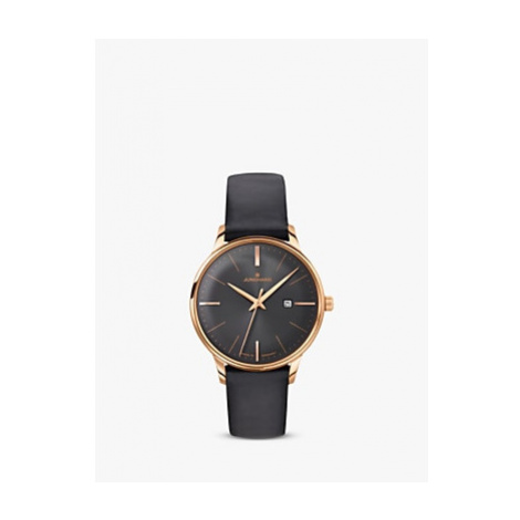 Junghans 047/7572.00 Women's Meister Date Leather Strap Watch, Black