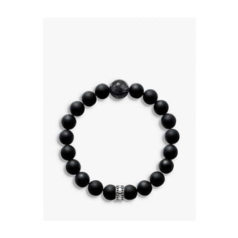 THOMAS SABO Men's Rebel At Heart Beaded Obsidian Sterling Silver Bracelet, Black