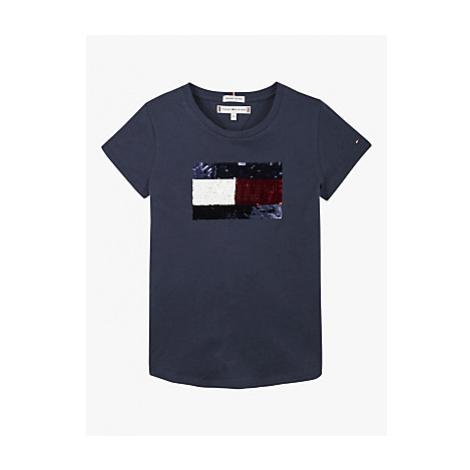 Tommy Hilfiger Girls' Sequin Flag T-Shirt, Twilight Navy