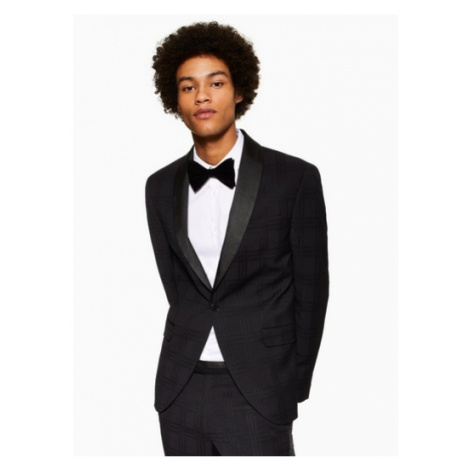 Mens Black Skinny Fit Subtle Check Single Breasted Tuxedo Suit Blazer With Shawl Lapel, Black Topman