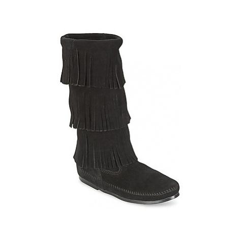 Minnetonka CALF HI 3 LAYER FRINGE BOOT women's High Boots in Black