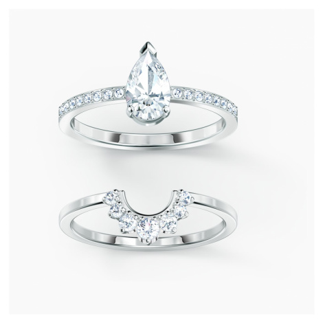 Attract Pear Ring Set, White, Rhodium plated Swarovski