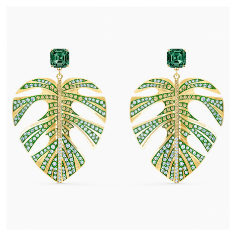 Tropical Leaf Pierced Earrings, Green, Gold-tone plated Swarovski