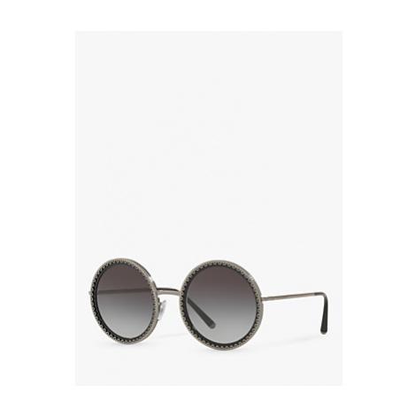 Dolce & Gabbana DG2211 Women's Round Sunglasses, Gunmetal Black/Grey Gradient