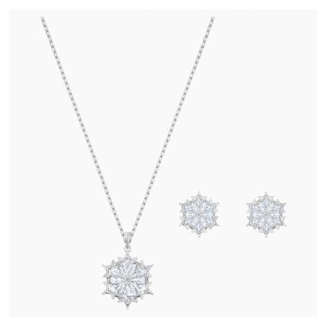 Magic Snowflake Set, White, Rhodium plated Swarovski