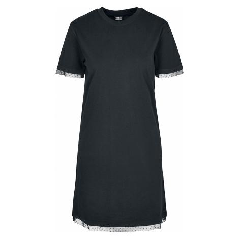 Urban Classics - Ladies Boxy Lace Hem Tee Dress - Dress - black